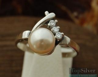 Pawia - srebrny pierścionek z perła i kryształkami