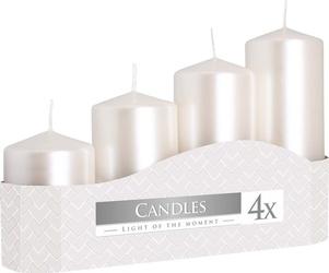 Bispol, sw504, świeca walec, biała perłowa, różne wielkości, 4 sztuki