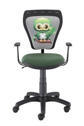 Obrotowe krzesło dziecięce z sową na oparciu ministyle