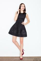 Czarna Mocno Rozkloszowana Mini Sukienka