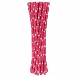 Słomki papierowe różowe w białe gwiazdki 24 szt.