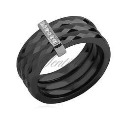 Potrójny pierścionek ceramiczny czarny ze srebrnym pr. 925 elementem - prostokąt z cyrkoniami