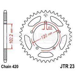 Zębatka tylna stalowa JT 23-47, 47Z, rozmiar 420 2301209 Aprilia RS 50