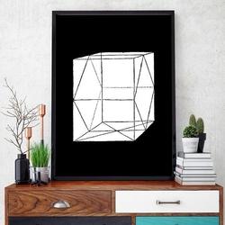 Prostopadłościan bryła 3d - designerski plakat w ramie , wymiary - 60cm x 90cm, kolor ramki - biały