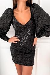 Czarna obcisła sukienka cekinowa z bufkami na rękawach 127