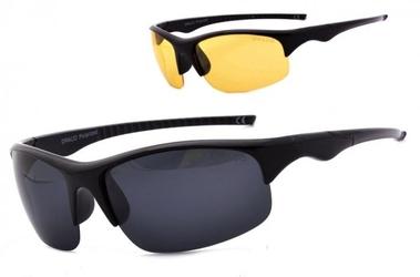 Okulary z dwoma soczewkami polaryzacyjnymi czarna i żółta - drs-54c1