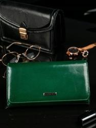 Skórzany portfel damski zielony lorenti 1077 - zielony