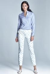 Ecrubeż spodnie cygaretki 78 w drobny wzór