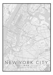 Nowy jork mapa czarno biała - plakat wymiar do wyboru: 42x59,4 cm