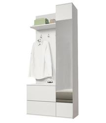 Garderoba z wieszakami i lustrem liten biała