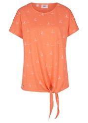 Shirt, krótki rękaw bonprix łososiowy pomarańczowy - biały z nadrukiem