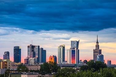 Warszawa panorama - plakat premium wymiar do wyboru: 45x30 cm