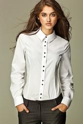 Biała koszula z czarnymi guzikami - biały