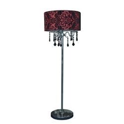 Lampa podłogowa z czerwonym abażurem i czarnymi kryształami astor candellux 53-80465