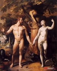 grzech pierworodny - cornelis van haarlem ; obraz - reprodukcja