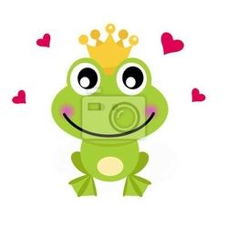 Naklejka cartoon książę żaba na białym