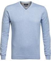 Błękitny sweter w serek  profuomo z bawełny pima m