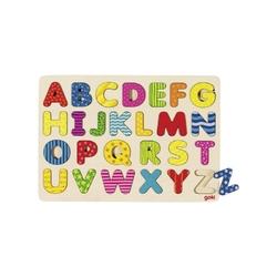Drewniana układanka kolorowy alfabet