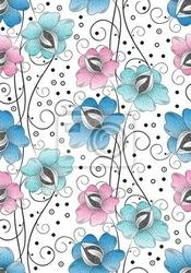 Fototapeta jednolite tło kwiaty tekstylne