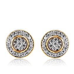 Staviori Kolczyki. 48 Diamentów, szlif brylantowy, masa 0,30 ct., barwa H, czystość SI2. Żółte Złoto 0,585. Średnica około 10 mm.