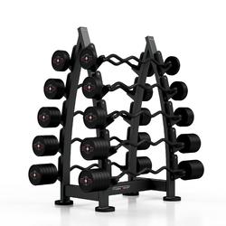 Zestaw sztang gumowanych łamanych 10-55 kg czarny połysk ze stojakiem mf-s001 - marbo sport