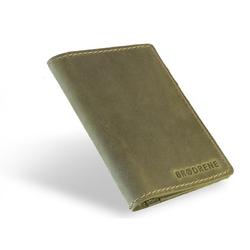 Skórzany cienki portfel slim wallet brodrene sw01 zielony