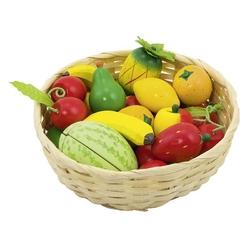 Drewniane owoce w koszyczku