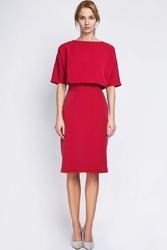 Czerwona Wizytowa Sukienka Dzianinowa z Rękawem 12