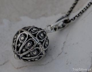 Kula - srebrny ażurowy wisior kulki