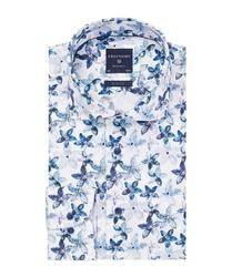 Przewiewna biała koszula profuomo slim fit w niebieskie kwiaty 37