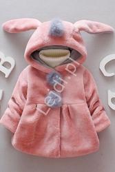 Różowe futerko króliczek z pomponami dla dziewczynek 063