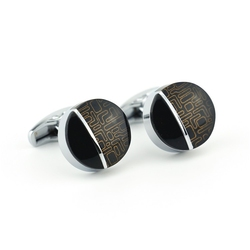 Okrągłe spinki do mankietów kc-1068 onyx-art london