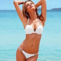 Strój paski bikini paseczki push-up biały