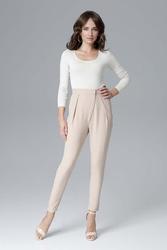 Beżowe nowoczesne kopertowe spodnie