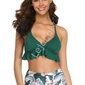 Zielone bikini z wysokim stanem z falbankami