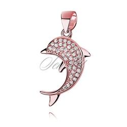 Srebrna zawieszka pr.925 pozłacany delfin z cyrkoniami - różowe złoto - biała  różowe złoto