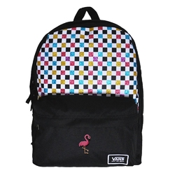Plecak szkolny vans glitter check realm - vn0a48hgux9 - custom flamingo - custom flamingo