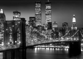 New york brooklyn bridge night - plakat