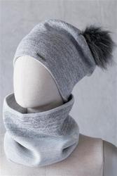 Komplet czapka + szalik elegancja na luzie szary