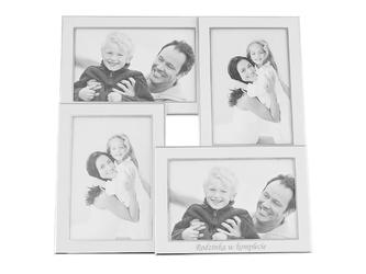 Posrebrzana ramka na 4 zdjęcia chrzest, komunia, ślub, urodziny grawer