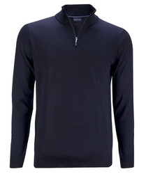 Granatowy sweter z wełny z merynosów z golfem zapinanym na zamek xxl
