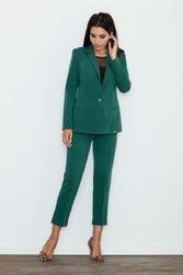 Zielone Eleganckie Spodnie Cygaretki z Mankietem