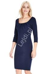 Granatowa elegancka sukienka marszczona na biuście 765