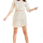 Beżowa zwiewna krótka sukienka z falbankami