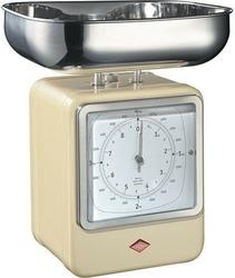 Waga kuchenna z zegarem retro beżowa
