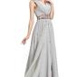 Elegancka szara długa suknia sylwester  studniówka , cyrkonie na ramionach