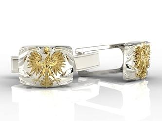 Spinki do mankietów z żółtego i białego złota insigne sjspm-13bz
