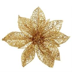 Brokatowa gwiazda ażurowa na klipie - złota