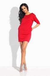 Czerwona Sukienka Pudełkowa Mini z Wiązaniem z Tyłu