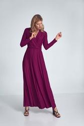 Długa rozkloszowana sukienka kopertowa - fuksja